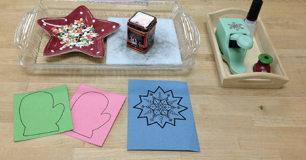 Some winter themed basic art skills and activities for preschoolers and early learners