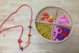 Heart Valentine Necklace Making- Trillium Montessori