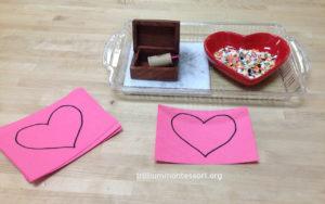 Heart Pinpunching - Trillium Montessori February Valentine Art