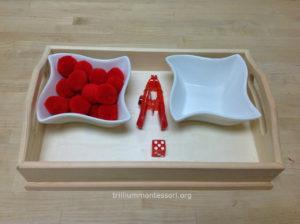 Roll the Dice Clothespin Squeezing - Trillium Montessori Fine Motor