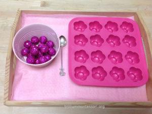 Spooning Sparkly Balls - Trillium Montessori Fine Motor