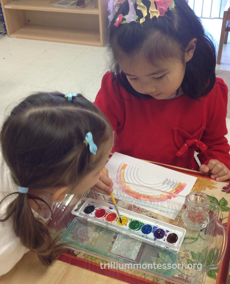 Painting a Rainbow Trillium Montessori