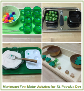 Montessori Fine Motor Activities for St. Patrick's Day- Trillium Montessori