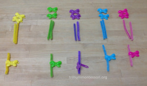 Butterfly Clips on pipecleaners at Trillium Montessori