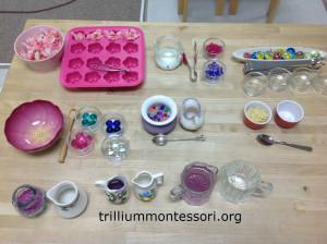 Setting up fine motor activities- Trillium Montessori