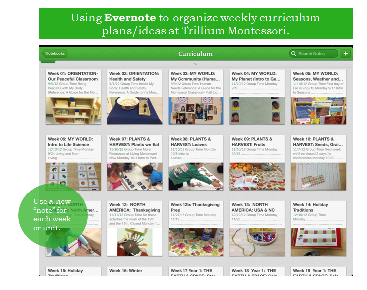 Using Evernote for Curriculum Planning-Trillium Montessori