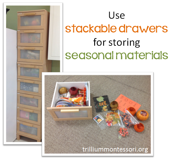 Stackable drawers for seasonal materials