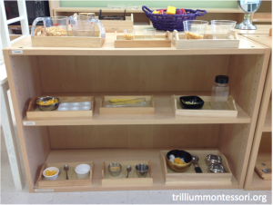 Fine Motor Shelf with yellow contents