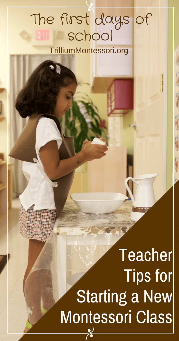 teacher tips for how to manage the first days of school of a new Montessori class