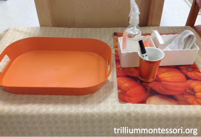 Draw a Face on a Pumpkin Montessori Set Up