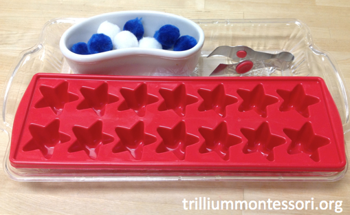 Tonging Pompoms in a star tray