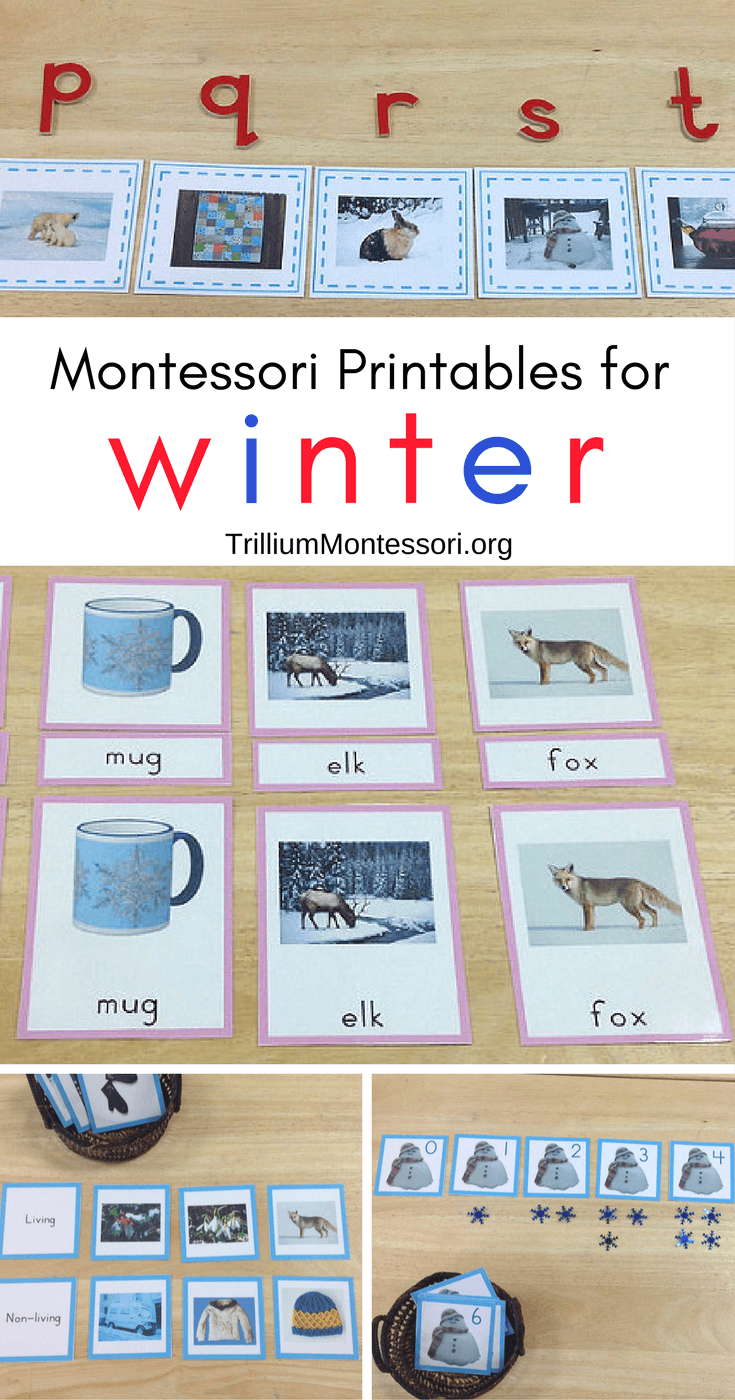 Montessori preschool printables for winter and January