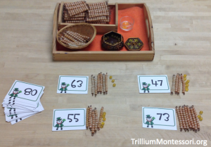 St Patricks Day Number Composition with Montessori Golden Beads