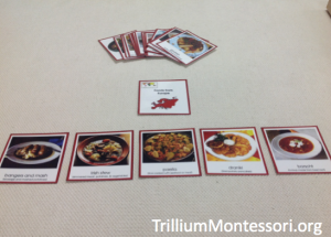 3 Part cards of food from Europe