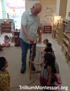 Examining a German walking stick as part of a unit study on Europe