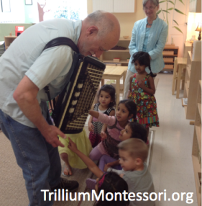 Examining an accordion from Germany as part of a unit study on Europe
