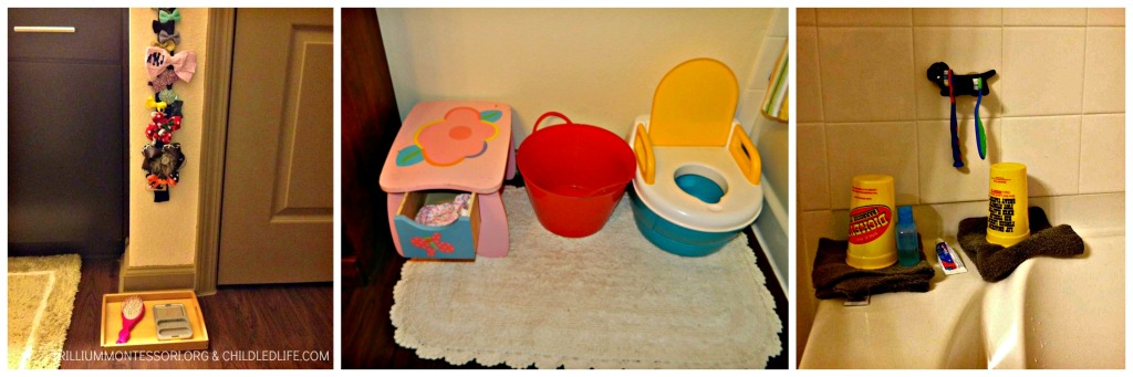 Small Space Montessori Home: Bathroom at trilliummontessori.org
