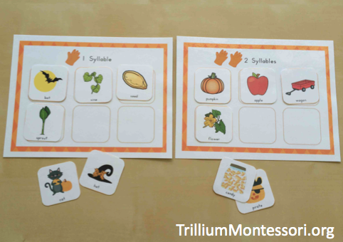 Pumpkin Patch Phonological Awareness Sorting Syllables