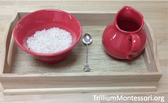 Spooning and Pouring Rice with Ceramic Bowl and Pitcher