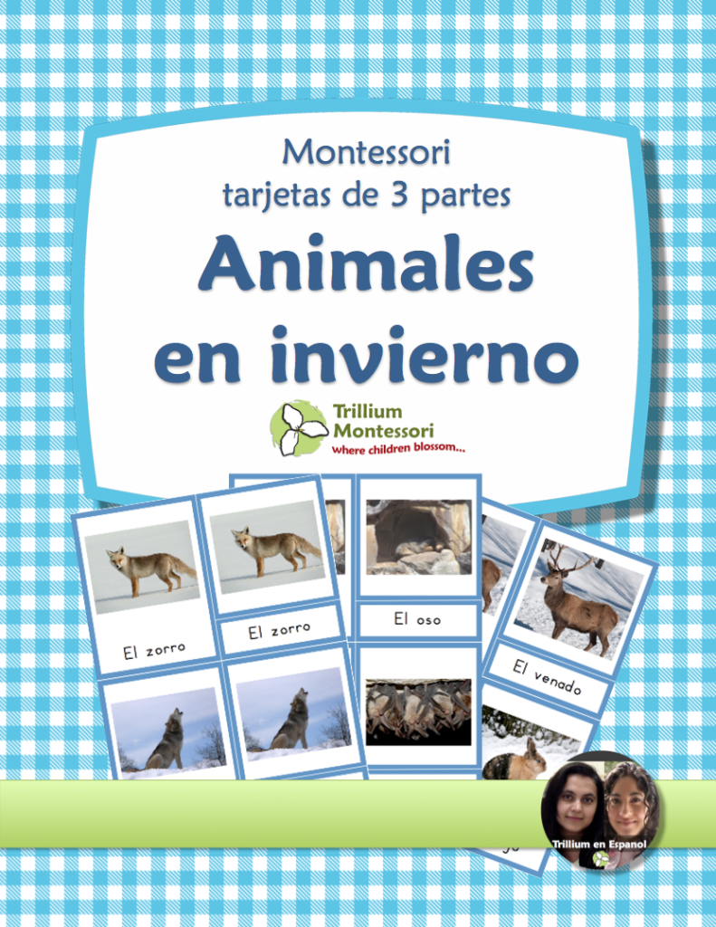 Spanish 3 part cards Animals in Winter