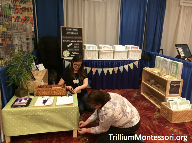 Getting the Trillium Montessori booth ready at the AMS Montessori Conference in Philapdelphia