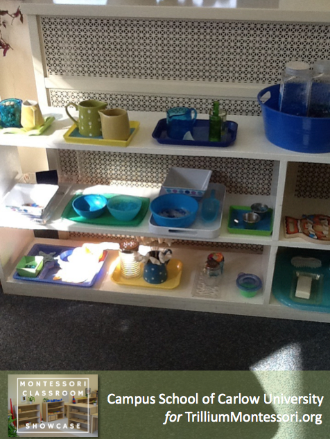 Campus School of Carlow Montessori classroom Practical Life Shelves 1