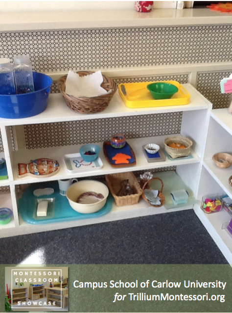 Campus School of Carlow Montessori classroom Practical Life Shelves 2