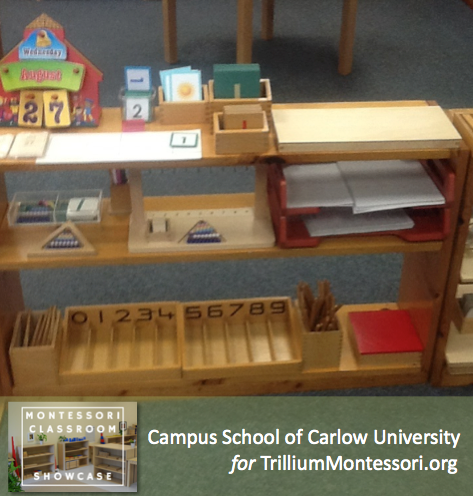 Campus School of Carlow Montessori classroom math shelves 1