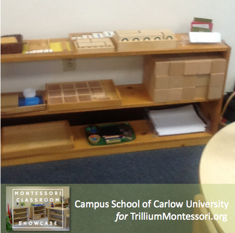 Campus School of Carlow Montessori classroom math shelves 3