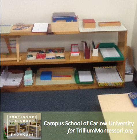 Campus School of Carlow Montessori classroom math shelves 4