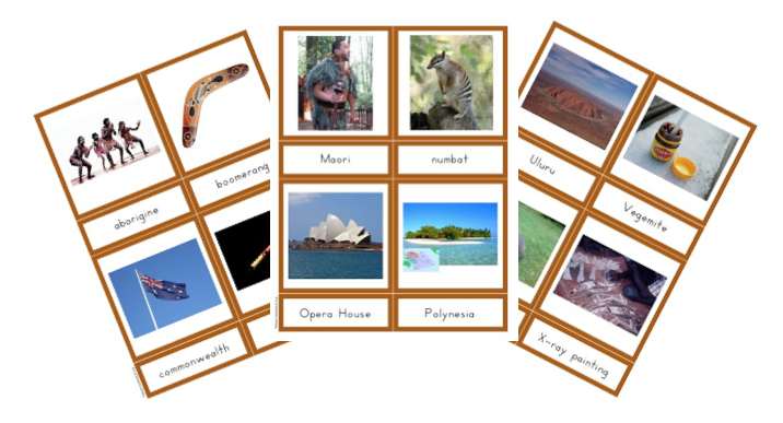 Continents A Z 3 Part Cards