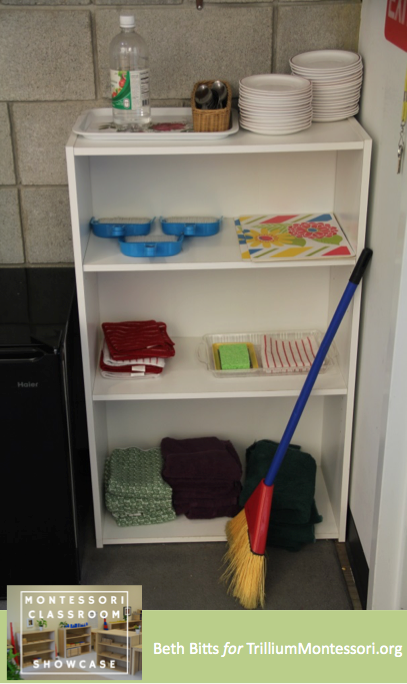 Montessori Classroom Showcase Beth Bitts Clean up shelf