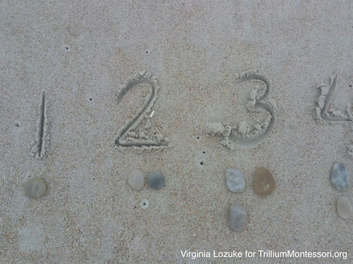 Montessori at the beach numbers and counters