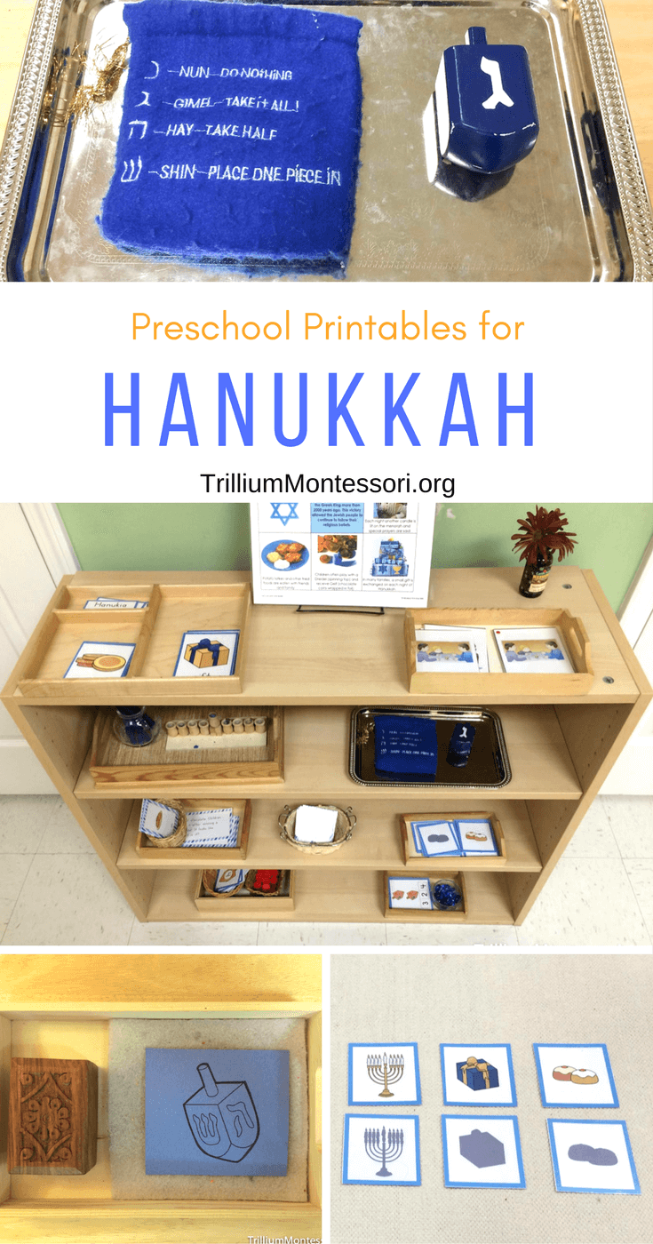 Hanukkah theme printables in a preschool classroom