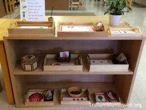 Farm Early Language Shelves from Trillium Montessori.