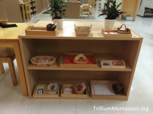 October Early Language Shelves from Trillium Montessori.