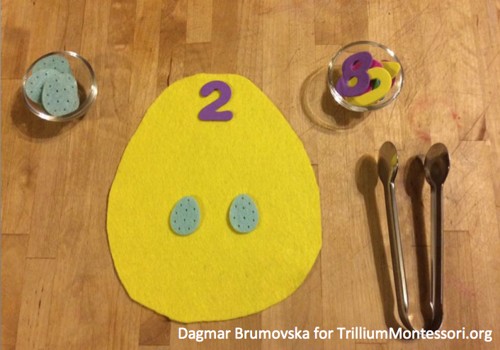 Easter and Spring Preschool Activity counting felt eggs