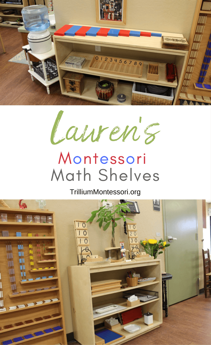A tour of Lauren's Montessori math area, shelves, and activities