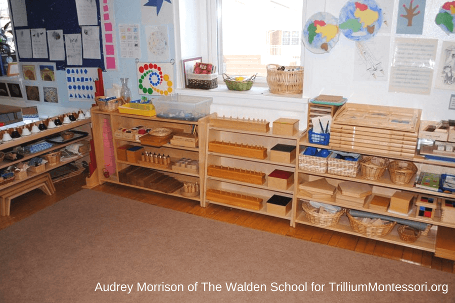 Montessori classroom shelves by Audrey Morrison- the Sensorial area