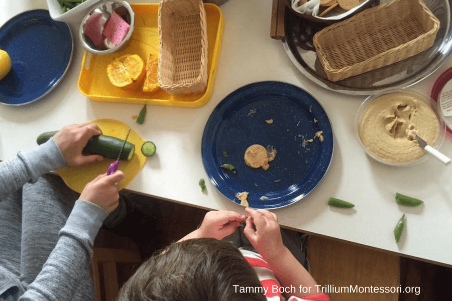Montessori Food Preparation and Cooking Spreading Hummus