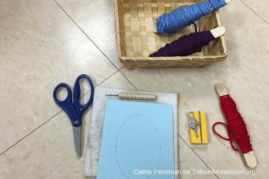 Two color sewing activity for Montessori classroom