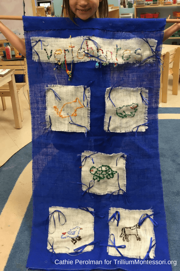Montessori sewing ideas display vertebrates