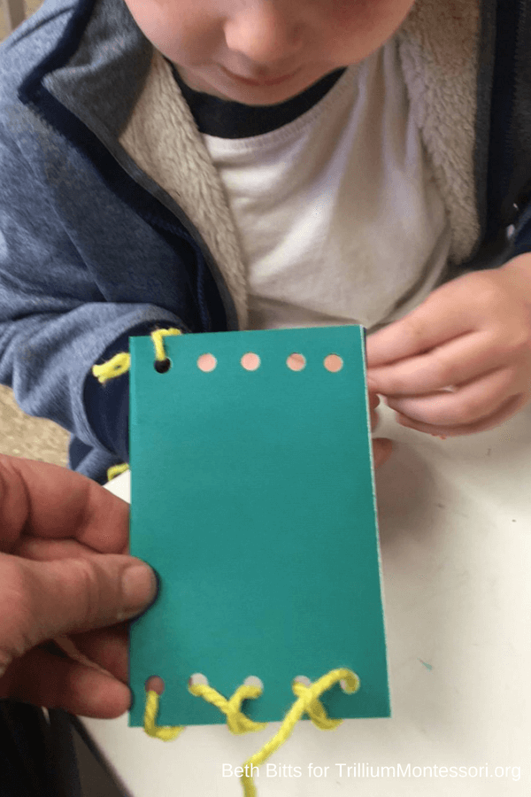 Sewing a paper pouch