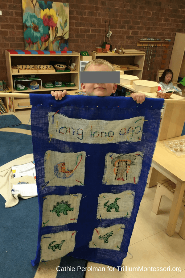 Montessori sewing ideas quilt dinosaurs