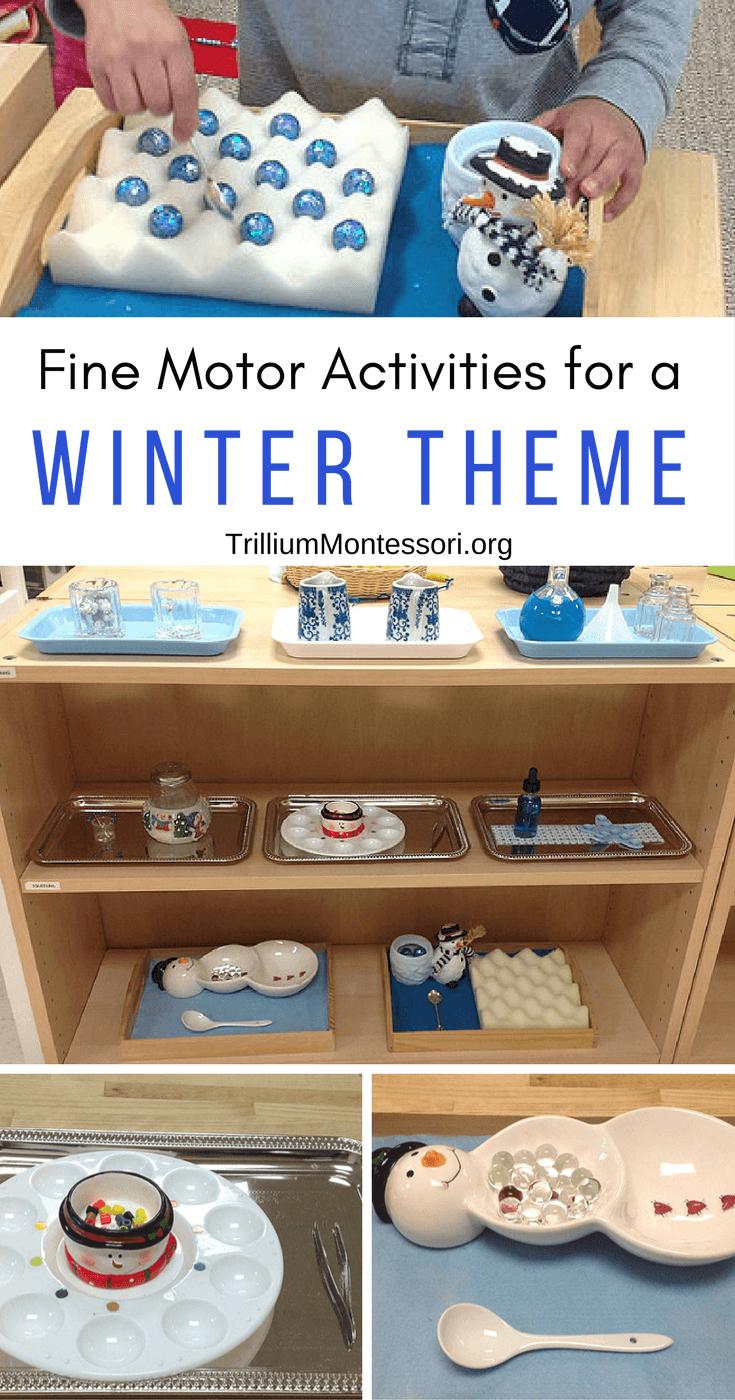 Fine motor activities for january trillium montessori for Montessori fine motor skills