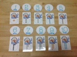 Snowman button counting- Montessori Winter Math