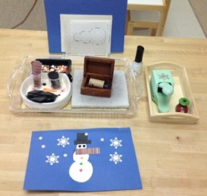 pinpunching a snowman- Montessori Art winter