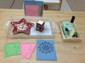 Pin-punching mittens and snowflakes- Montessori Art