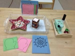 Pin-punching mittens and snowflakes- Montessori Art