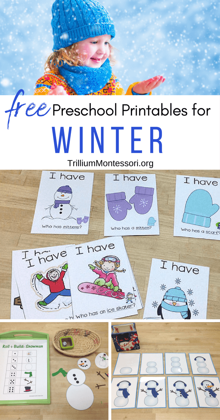 Free preschool printables for winter